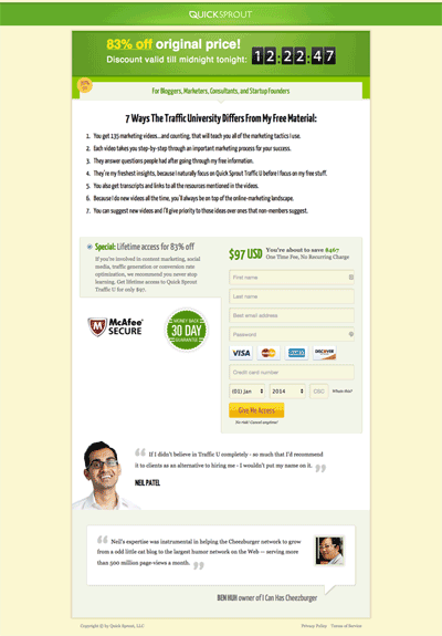 Scarcity bar at the top of the checkout page for Neil Patel's Quicksprout traffic course