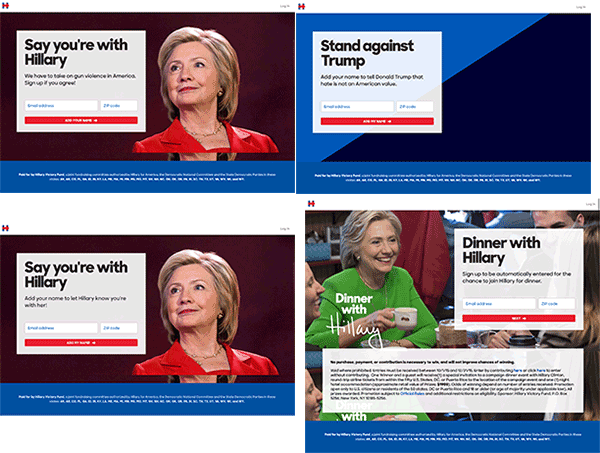 hillary-landing-pages