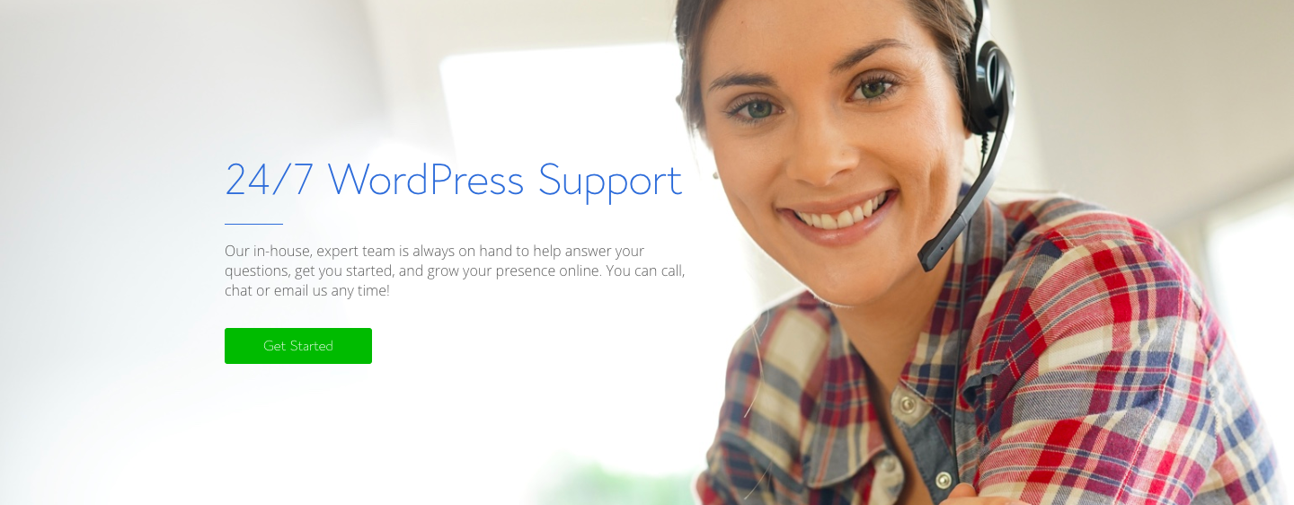 Bluehost WordPress Support Landing page