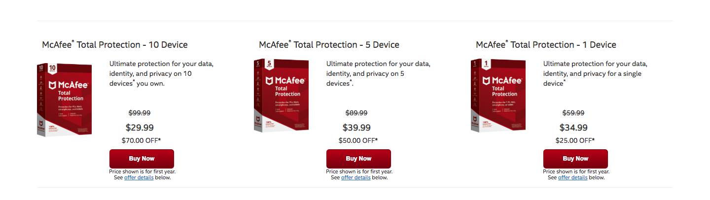 Mcafee other products
