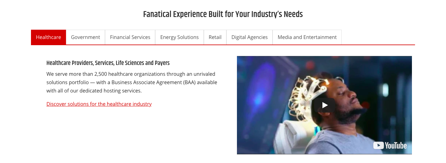 Rackspace Landing Page - Industry section