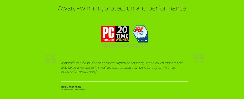 Webroot Landing page award pcmag