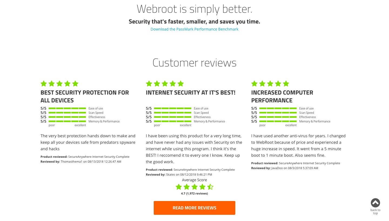 Webroot Landing page testimonials