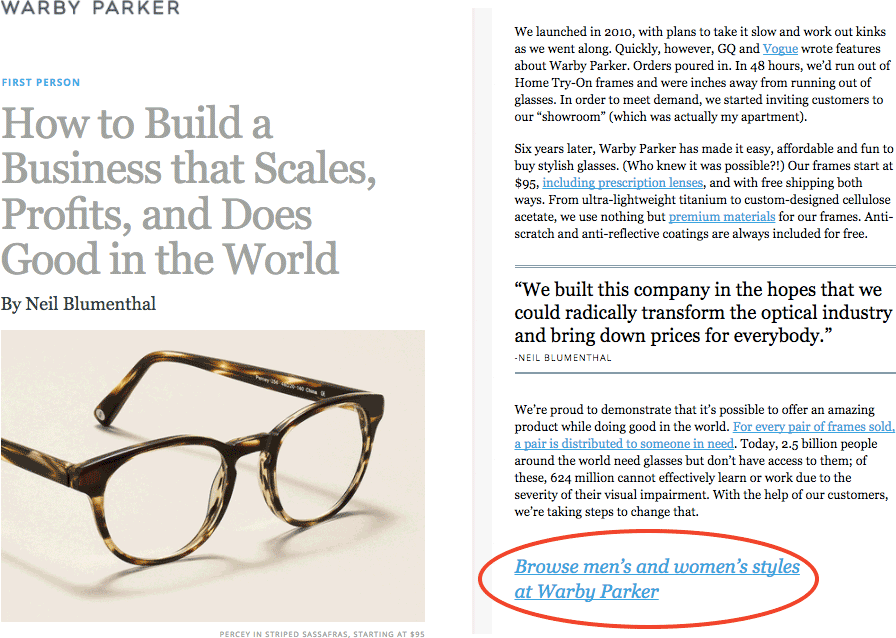 Warby Parker Native Ad